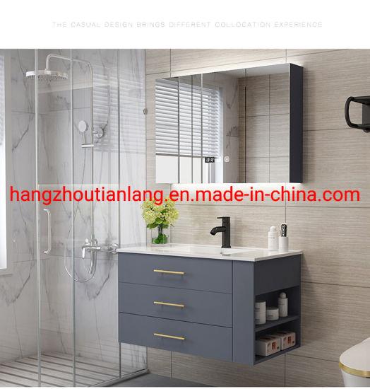 Marble Countertop Solid Wood Bathroom Toilet Cabinet Vanity Modern Furniture