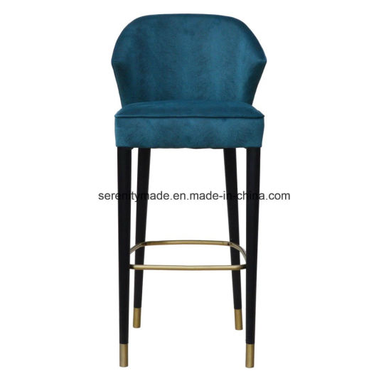 Nordic Style Modern Wooden Velvet Bar Stool Chair with Brass Footrest