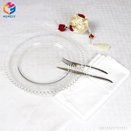 Transparent Clear Gold Silver Beaded Wedding Decorative Glass Charger Plate pictures & photos