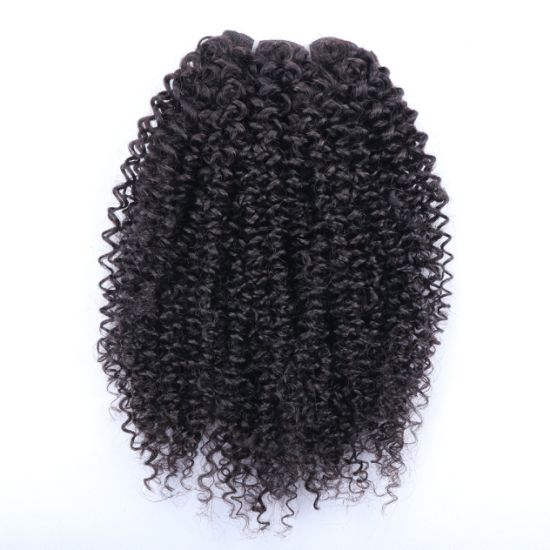 Long Lasting Unprocessed Natural Curly Indian Remy Human Hair Weft