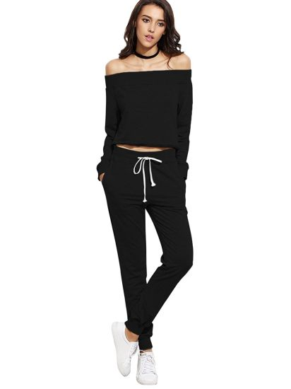 Women's Two Piece Black Tracksuits
