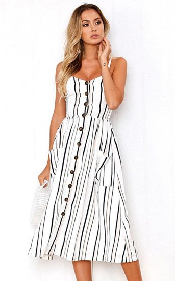 Women′s Dresses-Summer Floral Bohemian Spaghetti Strap Button Down Swing MIDI Dress with Pockets pictures & photos