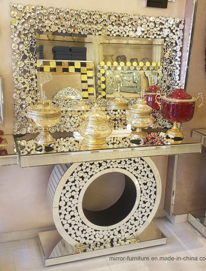 Hot Sell Decorative Convex Rectangle Wall Mirror with Mirrored Console Table