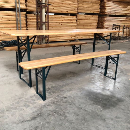 Wholesale Garden Furniture Outdoor Wood Beer Table and Bench with Foldable Legs