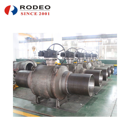 DN50-DN1200 API ASME Class150-2500 Fully-Welded Carbon Steel Ball Valve with Transition Pipe