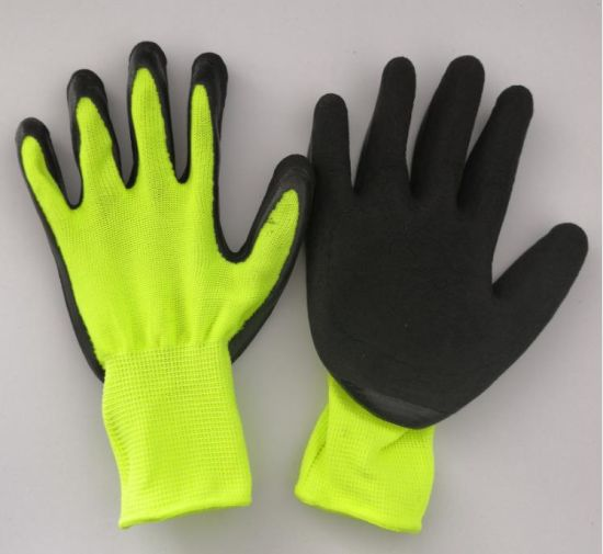 Neon Color Shinny Durable Labor Work Used Foam Latex Palm Coated Safety Gloves