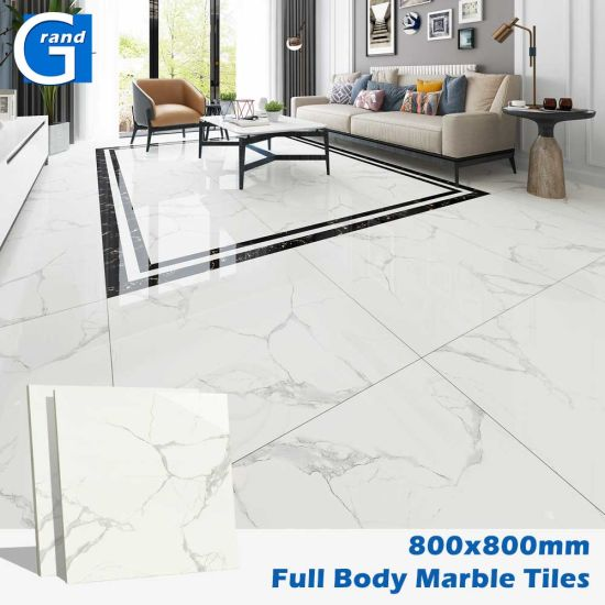 Foshan First Choice Bathroom Natural Cararra White Marble Full Polished Glazed Vitrified Ceramic Porcelain Wall Flooring Tiles