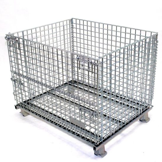 Heavy Duty Steel Collapsible Wire Mesh Pallet Container for Warehouse Storage