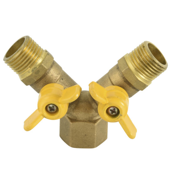 Female Thread Double Fork Brass Gas Valve 1/2′ ′ -3/4′ ′ Inch