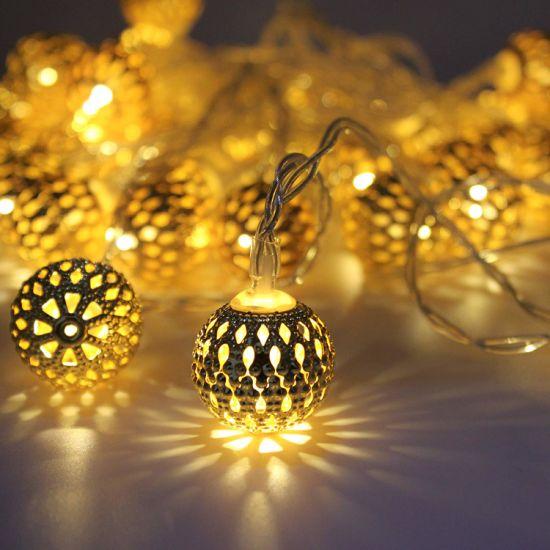 Outdoor Decor Metal Solar LED Bulb Ball String Light for Garden Party