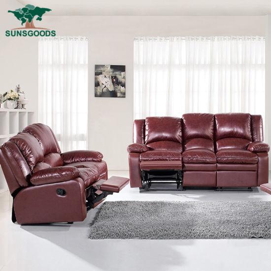 Genuine Leather Sofa Set With 5