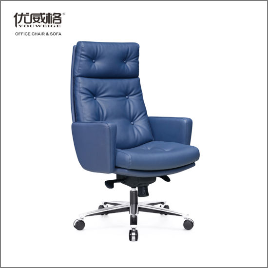 Blue Leather Receiption Meeting Conference Computer for Public Office Chair with Aluminum Base Tilt Lock Lifting Mechanism
