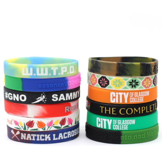 Wholesale Cheap Custom Silicone Fashion Color Changing Sport Printing Rubber Silicon Wristband for Promotional Gift