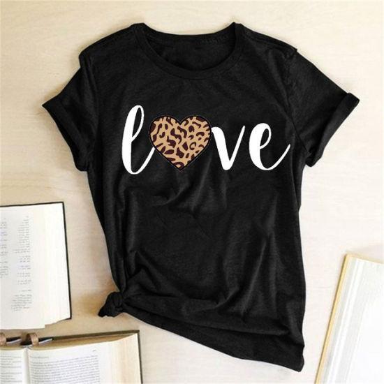 Xqm Newest Summer Letter Print Round Neck Short Sleeveplus Size Women′ S Blouses & Shirts