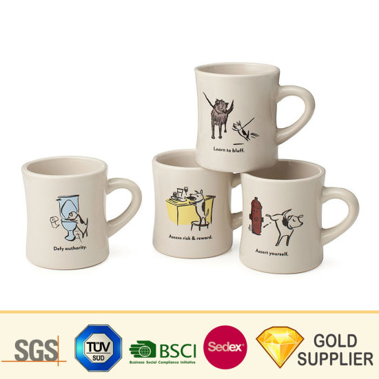 New Bone China Promotional Custom Sublimation Printing Enamel Valentine′s Mug White Glossy Inner Coating and Colored Handle Ceramic Porcelain Coffee Tea Cup pictures & photos