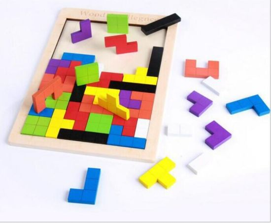 Wooden Blocks Puzzle Brain Teasers Toy Tangram Jigsaw Intelligence Colorful 3D Russian Blocks Game
