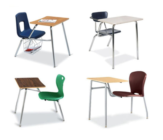 High Quality Steel Wood Student Single Desk Chair with Book Basket