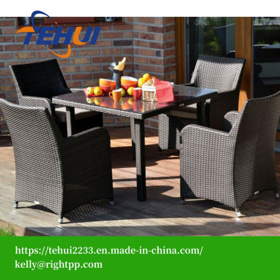 Th1201 Garden Patio Dining Table Dining Chair Set Black Rattan Furniture pictures & photos