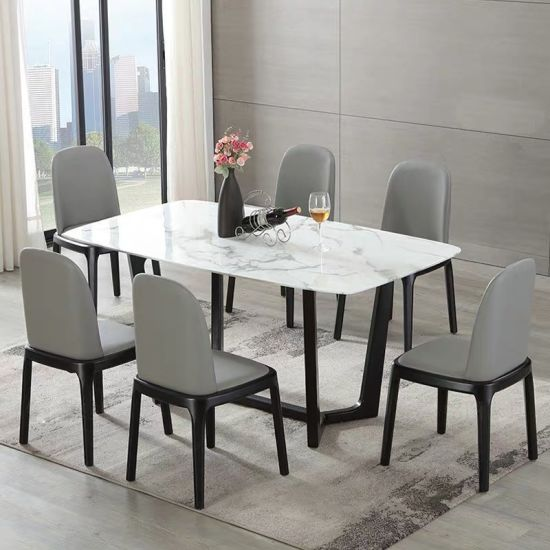 New Modern Home Restaurant Round Marble Dining Table Set Luxury