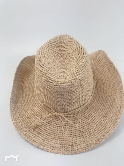 a6b9186a2 100% Natural Crocheted Raffia Straw with Beads Trim Cowboy Hat