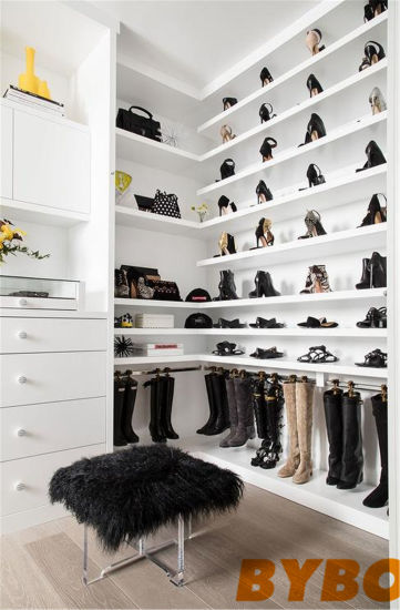 Long And Narrow Walk In Closet With Purse Shelves (BY W 27)