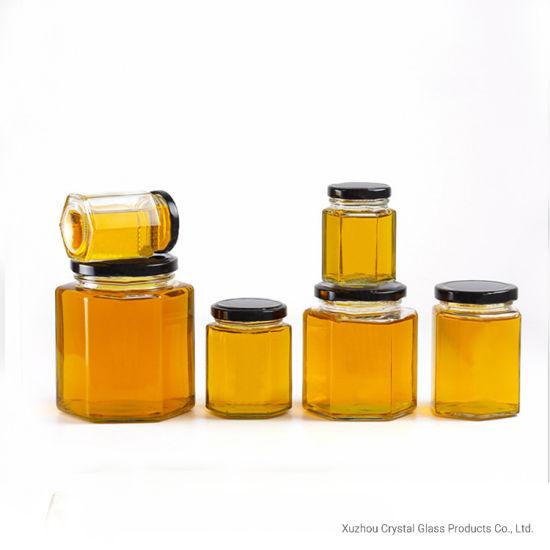 Hexagon Honey Jar 250ml 380ml 500ml 730ml Storage Honey Jar Butter Jelly Jam Spices Honey Glass Jar Twist off Lid