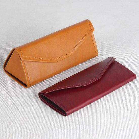 Wholesale Premium Leather Triangle Folding Custom Glasses Case Spectacle Case