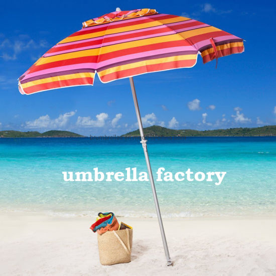220 Cm Factory Direct Windproof Large Beach Sun Umbrella with Sand Anchor with Carry Bag