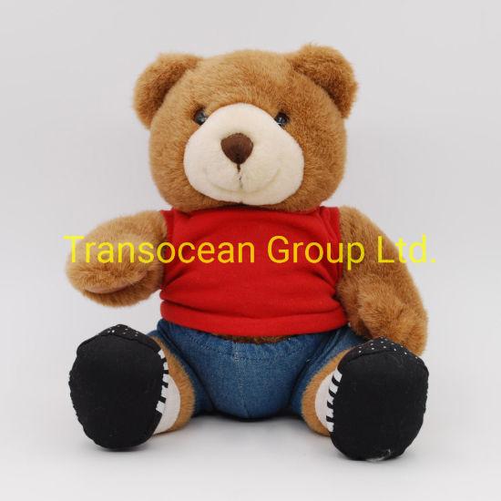 Wholesale Cute Sitting Plush Bear with Shirt Branded Logo Custom Teddy Bear Soft Toy