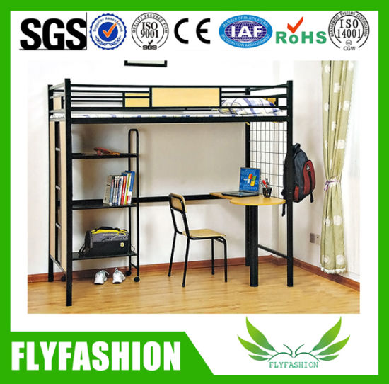Metal Loft Bed With Study Table Dormitory Bed (BD 10)