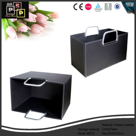 New Design PU Leather Garage Basket (6672) pictures & photos