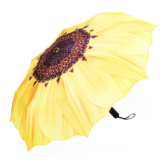 Automatic Umbrellas, Windproof Sunflower Design Compact Folding Umbrellas with Anti-Slip Rubberized Grip, for Business and Travels