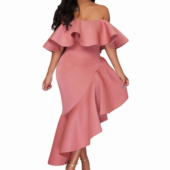Fashion Pink Asymmetric Ruffle off Shoulder Party Evening Dress pictures    photos 33fb46e12