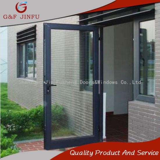 China Aluminium Gray Profile Double Glass French Door Entry Doors