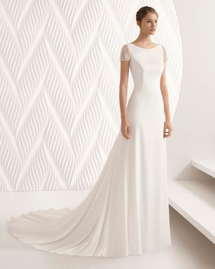Customize Boat Neck Short Sleeve Open Back Chiffon Beach Wedding Dress