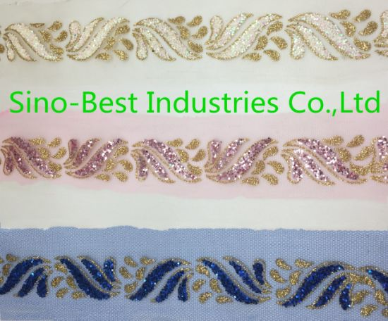 2019 New Design Lace Fabric Ribbon with Sequins for Handbag and Garment Accessories