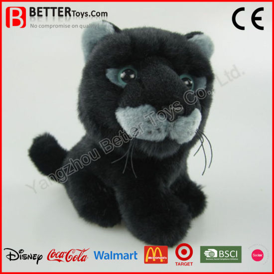 China Astm Realistic Plush Stuffed Animal Soft Black Panther Leopard