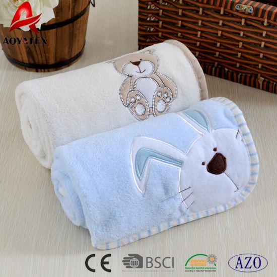 2e97ae06f1fc Embroidered Newborn Coral Fleece Super Soft Fabric for Cute Baby Blankets