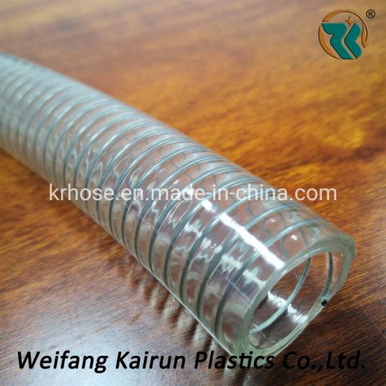 """Food Quality 2"""" PVC Transparent Steel Wire Hoses for Water, Milk"""
