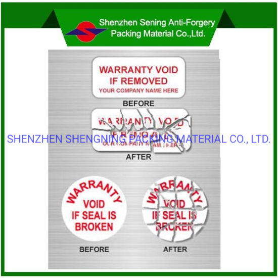 Free Sample for Warranty Tamper Destructive Vinyl Adhesive Label/Sticker