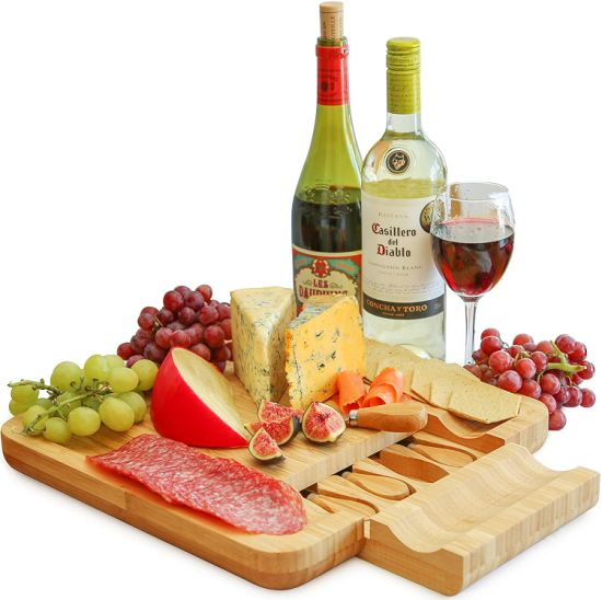 Wholesale Bamboo Cheese Board and Four Knife Sets for Entertaining or Gift Giving