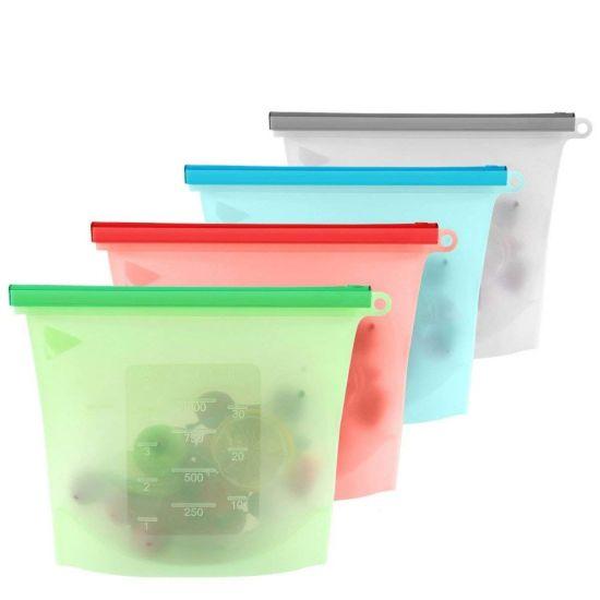 Food Grade Reusable Silicone Ziplock Food Storage Bag
