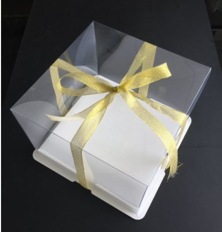 Custom Logo Transparent Square Plastic Birthday Cake Packing Box White with Ribbon
