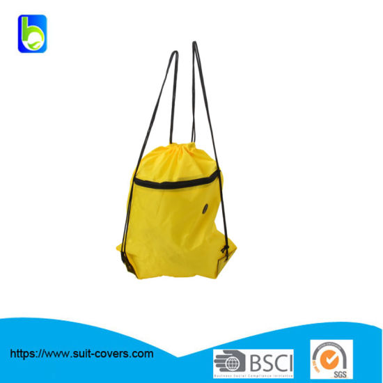 210d Drawstring Backpack with Zipper Pocket