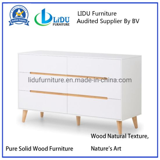 6 Slide Drawer Wood Small White Corner Storage Cabinet with Drawers