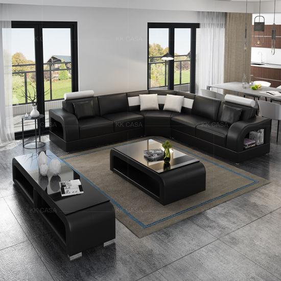 Latest Design Sectional Leather Modern Corner Contemporary Corner Sofa