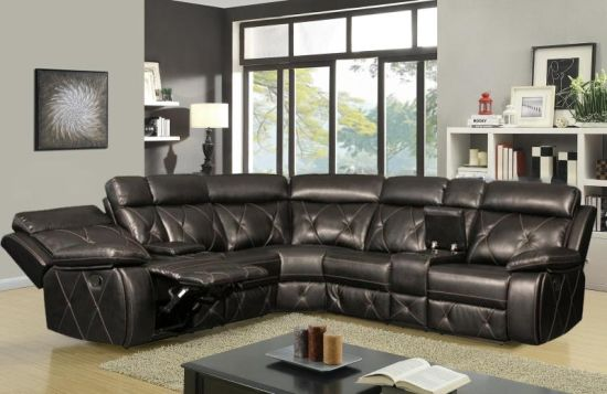 China Leather Gel Sectional Reclining Sofa with Console for ...