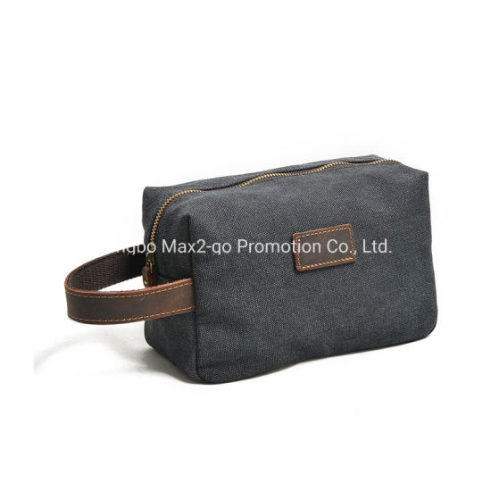 Custom Men Leather Fashion Cosmetic Travel Make up Toiletry Bag
