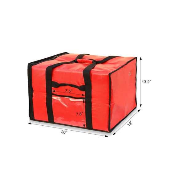 """Waterproof Insulated Pizza Delivery Bag, High Capacity Insulated Delivary Bag 20"""" by 19"""" by 13"""", Red"""