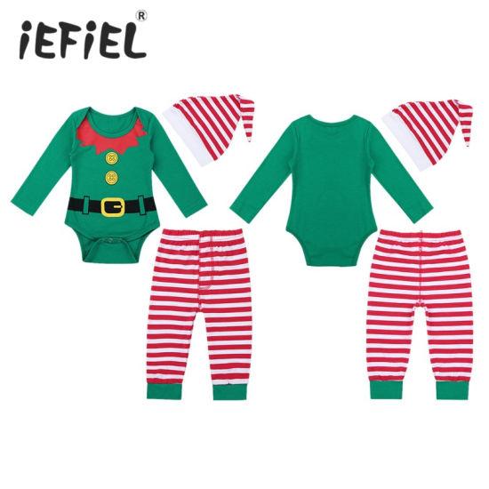 Infant Baby Long Sleeves Digital Printed Romper Striped Pants Hat Christmas Costume